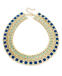 Thalia Sodi Gold Tone Blue Enamel Collar Necklace Only At Macy's