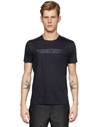 Emporio Armani Light Cotton T Shirt With Satin Logo Navy