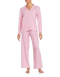 Karen Neuburger Long Sleeved Button Tee And Pajama Pants Set Pink