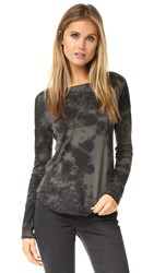 Raquel Allegra Long Sleeve Basic Tee Army Tie Dye