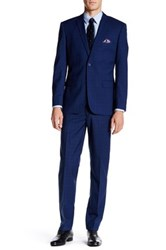 Nicole Miller Navy Window Pane Two Button Notch Lapel Suit Blue