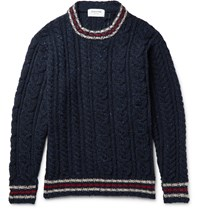 Thom Browne Fun Mix Cable Knit Wool Sweater Blue