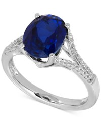 Macy's Lab Created Sapphire 3 5 8 Ct. T.W. And White Sapphire 1 5 Ct. T.W. Ring In Sterling Silver
