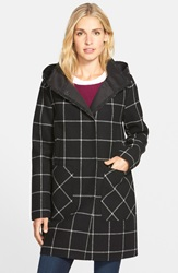 Vince Camuto Bonded Windowpane Duffle Coat Black White Plaid