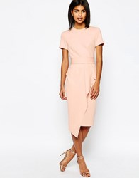 Asos Belted T Shirt Waterfall Pencil Dress Nude Pink