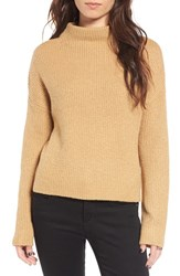 Women's Bp. Fuzzy Funnel Neck Sweater Tan Toffee