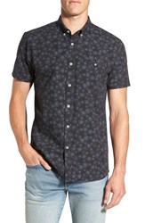 Rip Curl Men's 'Roundabout' Tailored Fit Short Sleeve Print Woven Shirt Black