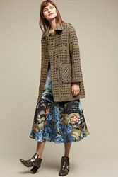 Anthropologie Dawson Jacquard Coat Blue Motif