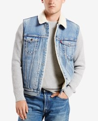 Levi's Men's Denim Trucker Vest With Faux Fur Sherpa Lining Youngstown