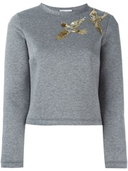 Red Valentino Sequin Bird Detail Sweatshirt Grey