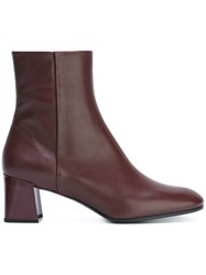Jil Sander Chunky Heel Ankle Boots Red