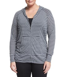 Soybu Plus Long Sleeve Zip Hoodie Black Stripe