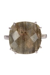 Candela Sterling Silver Faceted Cushion Cut Labradorite Ring Gray