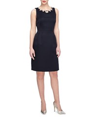 Tahari By Arthur S. Levine Embellished Fit And Flare Dress Navy