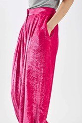 Topshop Crushed Velvet Trousers By Boutique Bright Pink