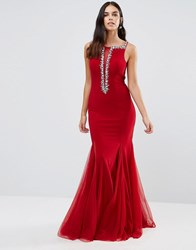 Forever Unique Estelle Maxi Dress With Embellished Mesh Plunge Detail Red