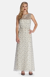 Tahari Sheer Yoke Embroidered Lace Gown Cream Black