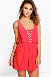 Boohoo Becki Double Layer Lace Up Swing Dress Poppy