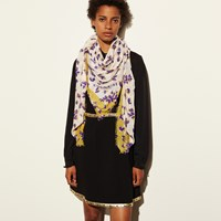 Coach Scattered Leaves Oversized Square Scarf Chalk Multi
