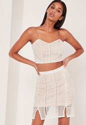 Missguided Crochet Crop Top Co Ord White And Pink