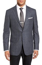 Hart Schaffner Marx Men's Big And Tall Classic Fit Plaid Wool And Cashmere Sport Coat Med Blue