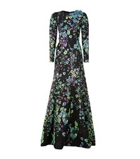Andrew Gn Embellished Brocade Gown Female Green