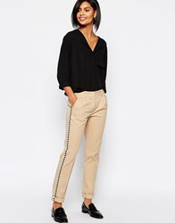 Sisley Slim Fit Pants In Beige With Trim 1K3 Warm Beige