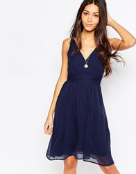 Vero Moda Deep V Skater Dress Iris
