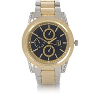 River Island Womens Gold And Silver Tone Coin Edge Watch