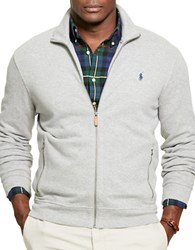 Polo Big And Tall Ribbed Cotton Full Zip Jacket Grey