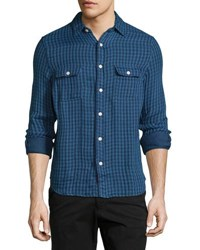 Faherty Belmar Check Work Shirt Indigo