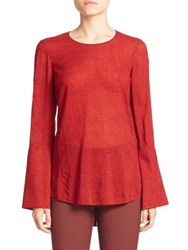 Akris Cheetah Print Wool Blouse Pomegranate