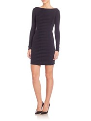 Versace Long Sleeve Ruched Knit Dress Dark Blue