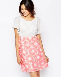 Traffic People Send Me No Flowers Reckless Dress With Floral Crochet Skirt Pink