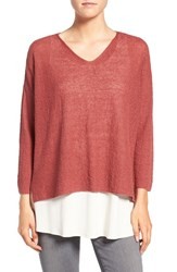 Eileen Fisher Women's Lightweight Organic Linen Knit V Neck Top Cinnabar