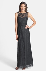 Amsale Illusion Yoke Lace Gown Pewter