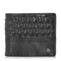 Dune Piri Woven Leather Wallet Black