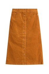 Closed Stretch Cotton Long Cord Skirt Yellow