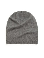 Saks Fifth Avenue Cashmere Slouchy Hat Grey Black