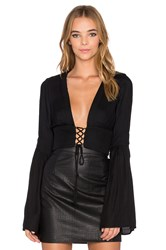 Becandbridge Panama Long Sleeve Crop Top Black