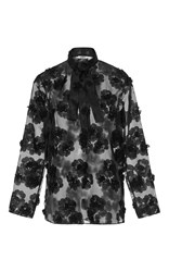 Cacharel Sheer Floral Blouse Black