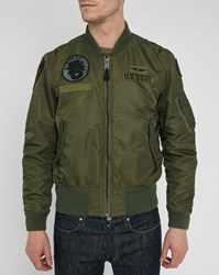Denim And Supply Ralph Lauren Khaki Nylon Patch Bomber Jacket