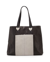 Carlos Falchi Large Python And Leather Box Tote Bag Gray Black