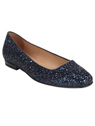 Phase Eight Lulu Glitter Flat Shoes Midnight