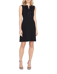 Tahari By Arthur S. Levine Petite Petite Chiffon Ruffled A Line Dress Black