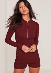 Missguided Burgundy Zip Front Ribbed Long Sleeve Playsuit