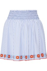 Tory Burch Grace Embroidered Striped Cotton Oxford Mini Skirt Blue