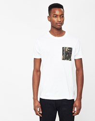 The Idle Man Crew Neck T Shirt With Camo Pocket White