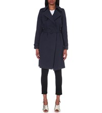 Warehouse Belted Cotton Blend Trench Coat Navy