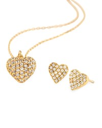 Tai Pave Golden Heart Necklace And Stud Earring Set Women's